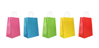 Colorful paper bags XL. Five colorful shopping bags in a row, isolated on white Royalty Free Stock Photography