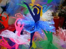 Colorful Paper Ballerina`s Media Art stock images