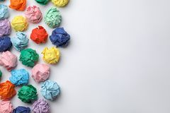 Colorful paper balls on white background royalty free stock images