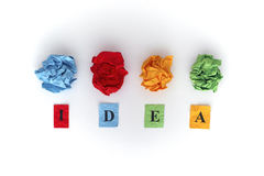 Colorful paper balls and word IDEA Royalty Free Stock Photos
