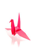Colorful paper birds with reflection. On white background Royalty Free Stock Photos