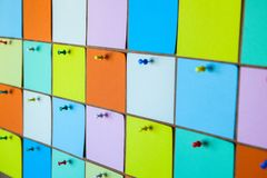 Close up of colorful paper stickers stock photos