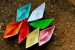 Colorful paper boats Royalty Free Stock Images