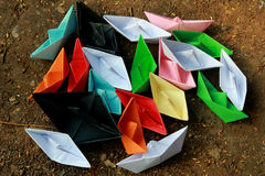 Colorful paper boats Stock Images