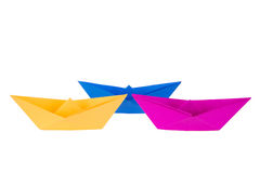Colorful paper boats Stock Photo