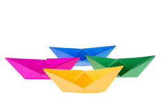 Colorful paper boats Stock Photography