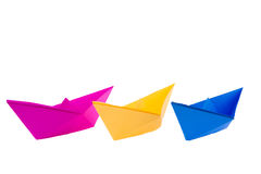 Colorful paper boats Royalty Free Stock Photos
