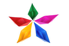 Colorful paper boats Stock Image