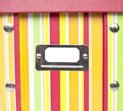 Colorful paper box with empty tag Royalty Free Stock Image