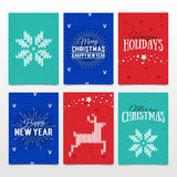 Colorful paper cards with Happy Holidays, Merry Christmas and Ha. Ppy New Year lettering. Christmas calligraphy on  background. Vector banners. Xmas postcards Royalty Free Stock Photos