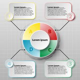 Colorful paper circle with four topics for website presentation cover poster  design infographic illustration concept. 1 Royalty Free Stock Images