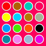 Colorful Paper Circles. On Pink - Red Background Vector Royalty Free Stock Photos