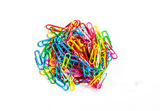 Colorful paper clip on white background. Royalty Free Stock Images