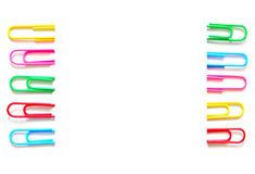 Colorful paper clip on white background. stationery office. Colorful paper clip on white background Stock Photography