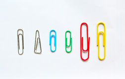 Colorful paper clip on white background. stationery office. Colorful paper clip on white background Royalty Free Stock Photography
