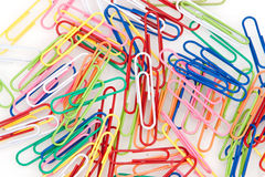 Colorful paper clips. On white background Royalty Free Stock Photography