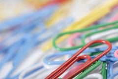 Colorful paper clips stock photos