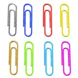 Colorful paper clips. 3D colorful paper clips on white background Stock Images