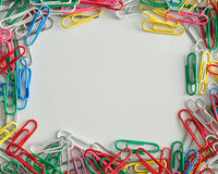 Colorful paper clips border Royalty Free Stock Image