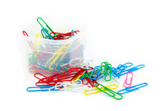 Colorful paper clips. Colorful paper clips in a box Royalty Free Stock Images