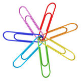 Colorful paper clips chained together on white Royalty Free Stock Image