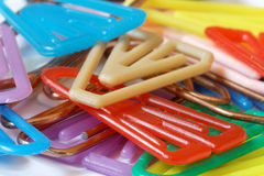 Colorful paper clips closeup-03 stock photos