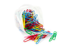 Colorful paper clips. Isolated colorful paper clips on white background Royalty Free Stock Photo