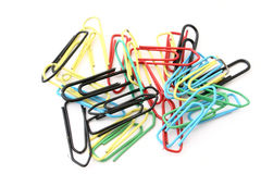 Free Colorful Paper Clips On White Royalty Free Stock Photography - 445077