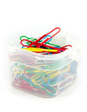 Colorful paper clips. Colorful paper clips on white background Stock Photography