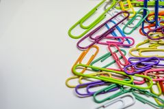 Colorful Paper Clips with White Background royalty free stock image