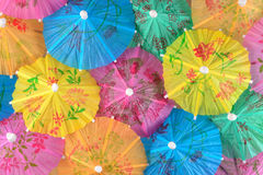 Colorful paper cocktail umbrella close-up Stock Image
