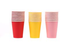 Colorful paper coffee cup. Royalty Free Stock Photos