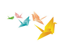 Colorful Paper Cranes. Assorted paper cranes (origami) at various angles in various colors and sizes. Illustration with white background for more versatile use Royalty Free Stock Photography