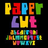 Colorful paper cut alphabet. Cutout letters. Lowercase, vector illustration royalty free illustration