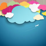Colorful paper cut clouds shape design Royalty Free Stock Photo