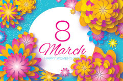 Colorful Paper Cut Flower. 8 March. Origami Women`s Day. Circle Frame. Space for text Stock Image