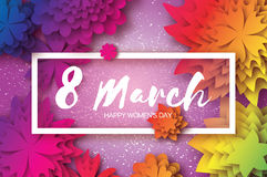 Colorful Paper Cut Flower. 8 March. Origami Women`s Day. Rectangle Frame. Space for text Stock Photo