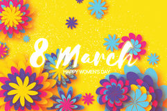 Colorful Paper Cut Flower. 8 March. Origami Women`s Day. Space for text Stock Photo