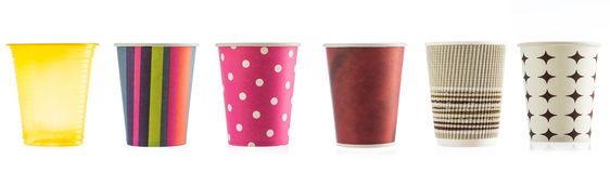 Colorful Paper Disposable Cups on white background Stock Images