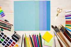 Colorful paper and drawing tools Stock Images