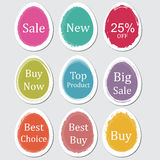 Colorful paper easter egg, sticker, label, banner with brush strokes. Colorful paper Easter egg, sticker, label, banner with brush strokes with example texts Royalty Free Stock Photos