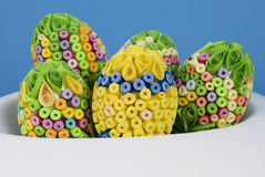 Colorful paper eggs. Handmade colorful paper easter eggs in bowel Royalty Free Stock Photos