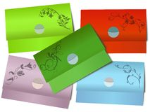 Colorful paper envelopes with floral motives Royalty Free Stock Images