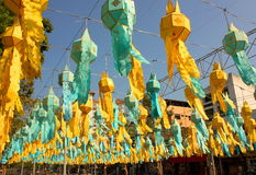 Colorful paper festoons in a public square Chiang Mai Thailand.  Royalty Free Stock Photos