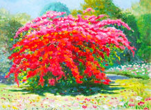 Colorful of paper flower tree and emotion at the garden. Painting oil color landscape original colorful of paper flower tree and emotion at the garden with cloud Stock Images