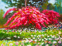 Colorful of paper flower tree and emotion at the garden. Painting oil color landscape original colorful of paper flower tree and emotion at the garden with cloud stock illustration