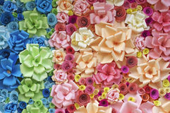 Colorful paper flowers. Background with pink and blue tone Royalty Free Stock Photos