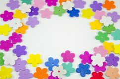 Colorful paper flowers with copy space Royalty Free Stock Photos