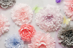 Colorful paper flowers. Decorative colorful paper flowers at the wedding ceremony Stock Photos