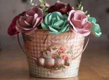 Colorful Paper Flowers in a small bucket Royalty Free Stock Image